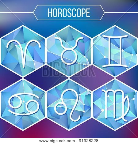 Zodiac Signs And Constellation Into Hexagonal Frames On Low Poly Background