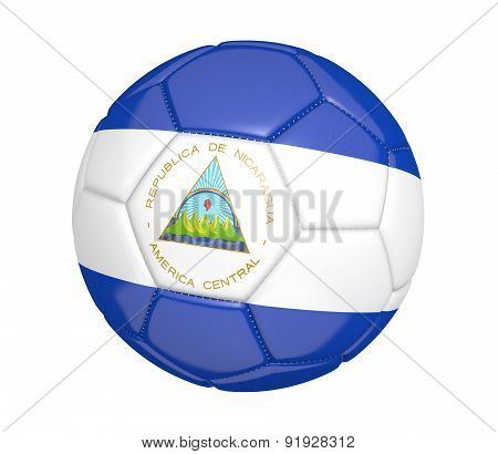 Soccer ball, or football, with the country flag of Nicaragua