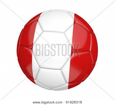 Soccer ball, or football, with the country flag of Peru