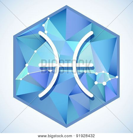 Zodiac Sign And Constellation Into Hexagonal Frames On Low Poly Background