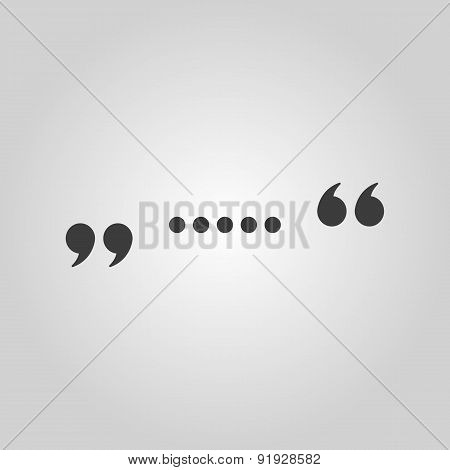 The Quote Icon. Quotation Symbol. Flat