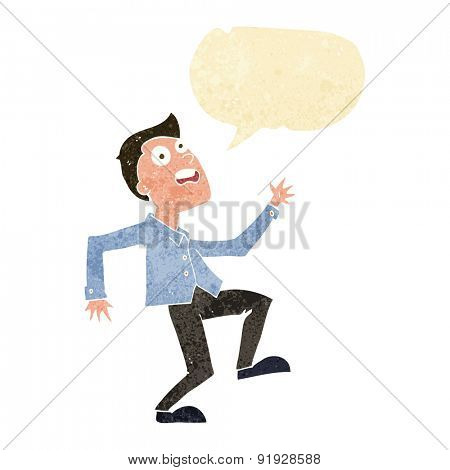 cartoon man panicking with speech bubble