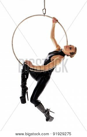 Sexy Woman Performer In Latex Catsuit On Aerial Hoop