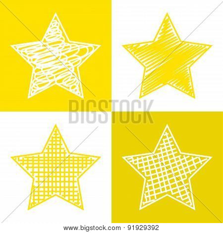 Set of hand drawn stars