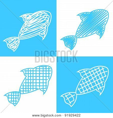 Set of hand drawn fish