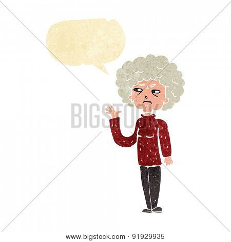 cartoon annoyed old woman waving with speech bubble