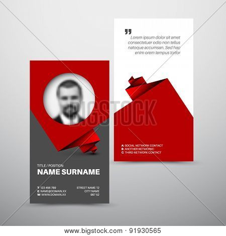 Modern simple light business card template with photo profile
