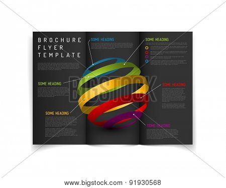 Modern Vector three fold brochure / leaflet / flyer design template with graphs and charts - dark version