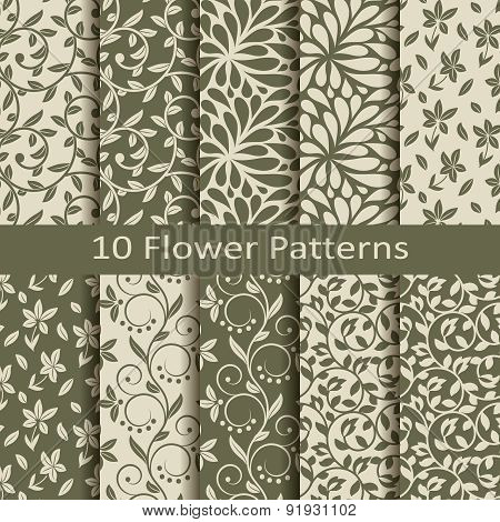 set of ten flower patterns