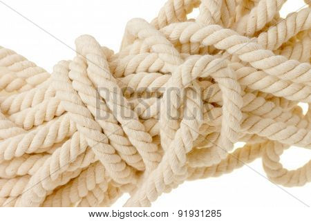 White Rope Mess. Isolated On White