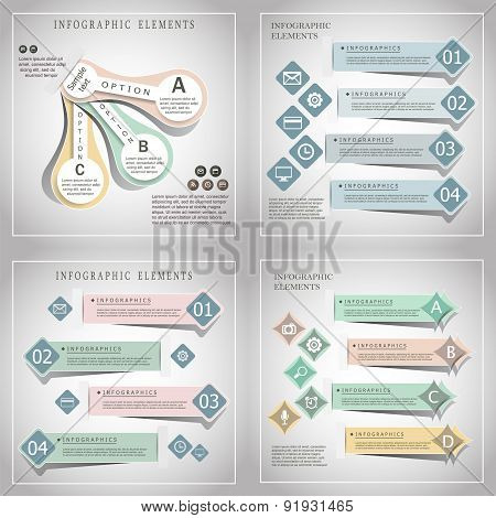 Collection Of Modern Origami Style Infographic Banners