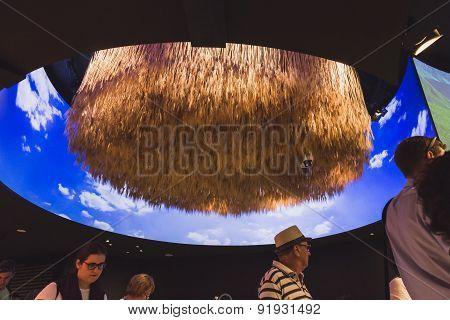 People Visiting Kazakhstan Pavilion At Expo 2015 In Milan, Italy