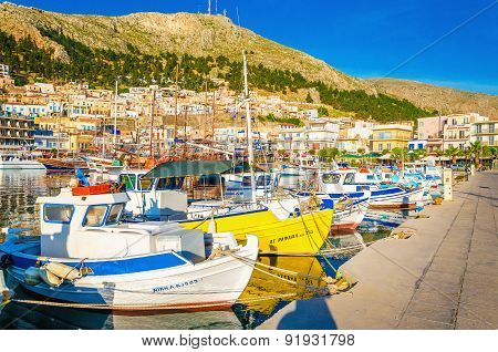 Colorful boats in Pohtia port on Kalymnos, Greece