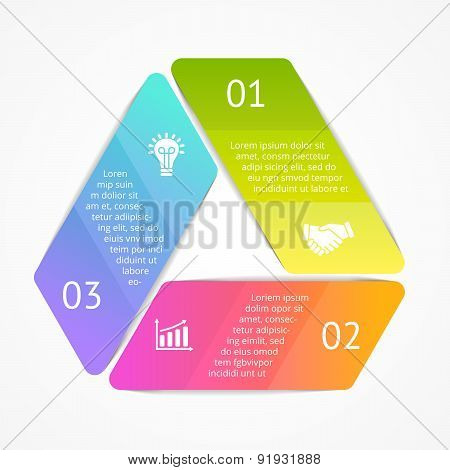 Vector triangle infographic. Template for cycle diagram, graph, presentation and round chart. Busine