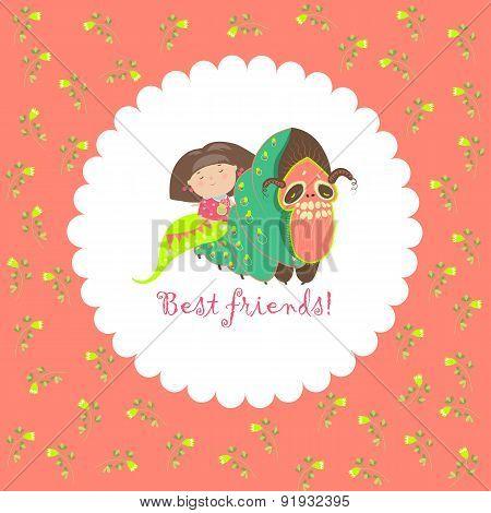 Little girl and her friend-caterpillar
