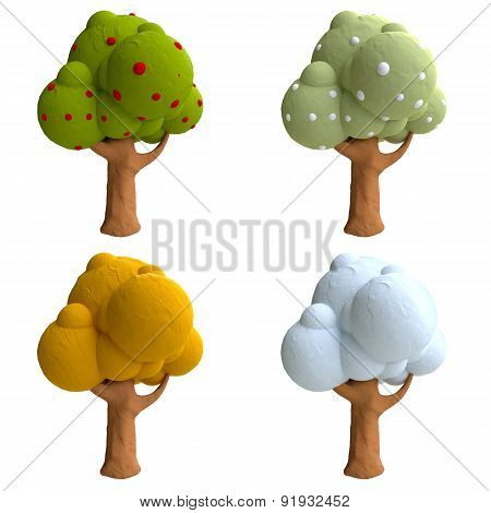 Cartoon trees from plasticine or clay.