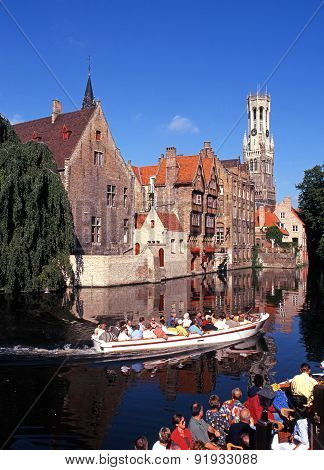 Boat trips on canal, Bruges.