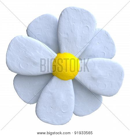 Flower of plasticine or clay