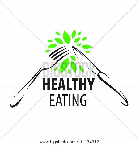 Vector Logo Fork, Knife And Green Leafs