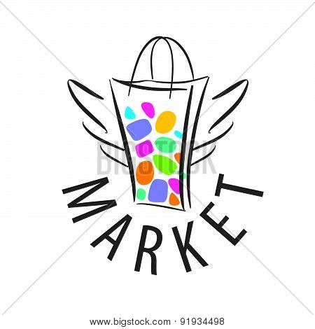 Vector Logo Shopping Bag With Wings