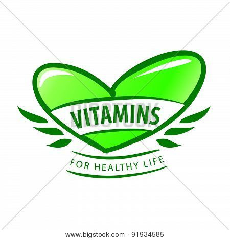 Vector Logo Vitamins As A Green Heart