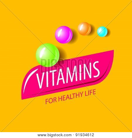 Vector Logo Vitamins In The Form Of Colored Capsules