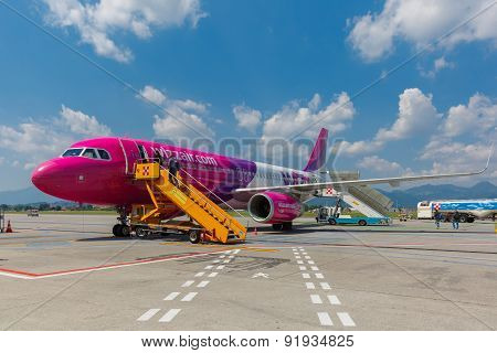 Passenger compartment of aircraft company Wizzair