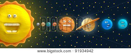 Cartoon Funny Planet Plasticine Or Clay.