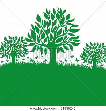 Vector background. Trees.