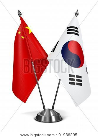 China and South Corea - Miniature Flags.