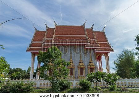 Temple with sky background under sunlight