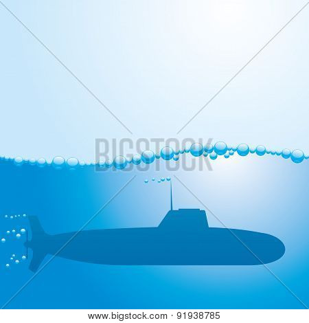 Vector illustration. Submarine.