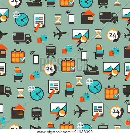 Seamless Pattern With Logistics Equipment.
