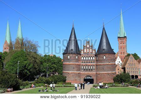 Holstentor gate and garden of Lubeck
