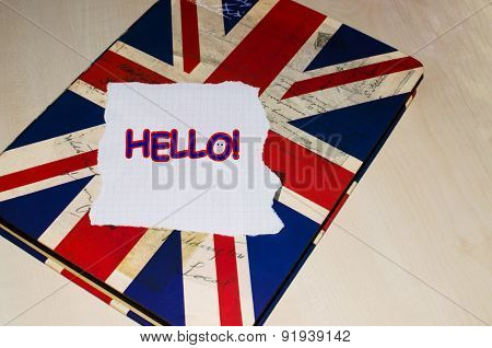 Hello text on piece of paper