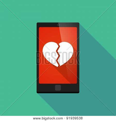 Long Shadow Phone Icon With A Heart