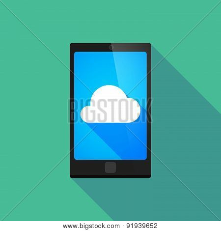Long Shadow Phone Icon With A Cloud