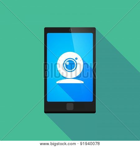 Long Shadow Phone Icon With A Web Cam