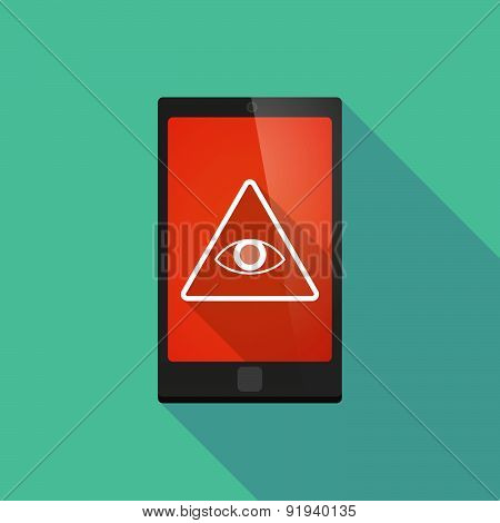 Long Shadow Phone Icon With An All Seeing Eye
