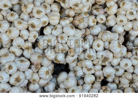 Close Up Of Garlic In The Market