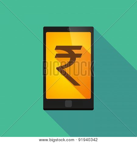 Long Shadow Phone Icon With A Rupee Sign