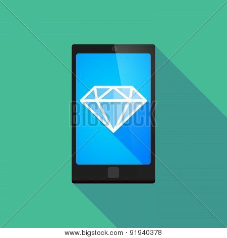 Long Shadow Phone Icon With A Diamond