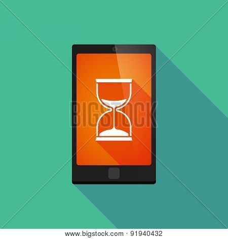 Long Shadow Phone Icon With A Sand Clock