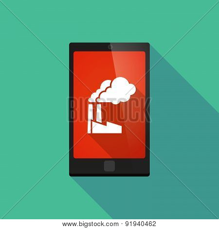 Long Shadow Phone Icon With A Factory