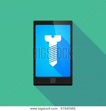 Long Shadow Phone Icon With A Screw