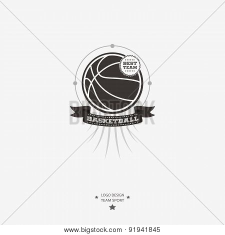 Basketball Emblem, Logo, Badge With Ribbon For Sports Design In Black And White.