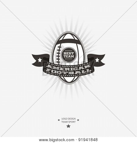 American Football Emblem, Logo, Badge With Ribbon For Sports Design In Black And White.