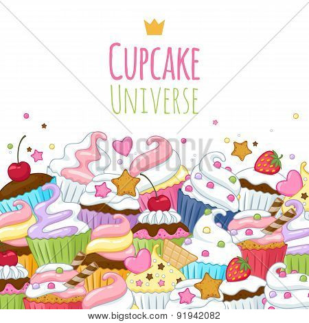 Sweet cupcakes background. Colorful illustration.