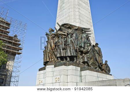 War Memorial On Poelaert Square In Brussels - Capital City Of Belgium