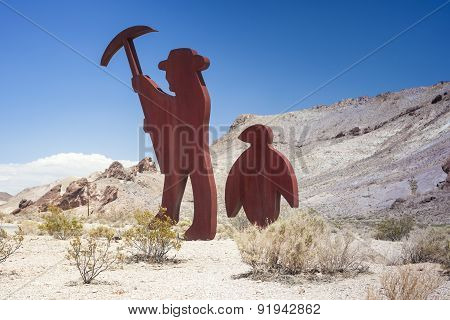 Symbolic Emblem Of The Abandoned Miner's Ghost City Rhyolite In Nevada In The United States Of Ameri